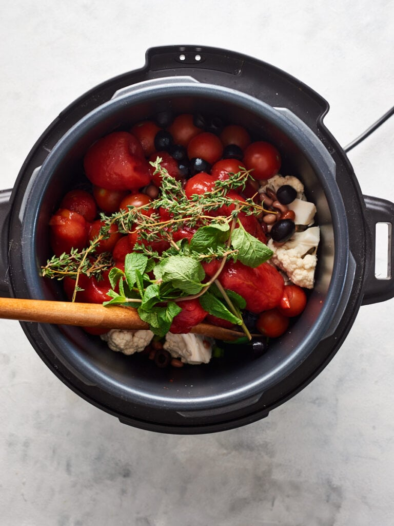 Adding herbs to instant pot
