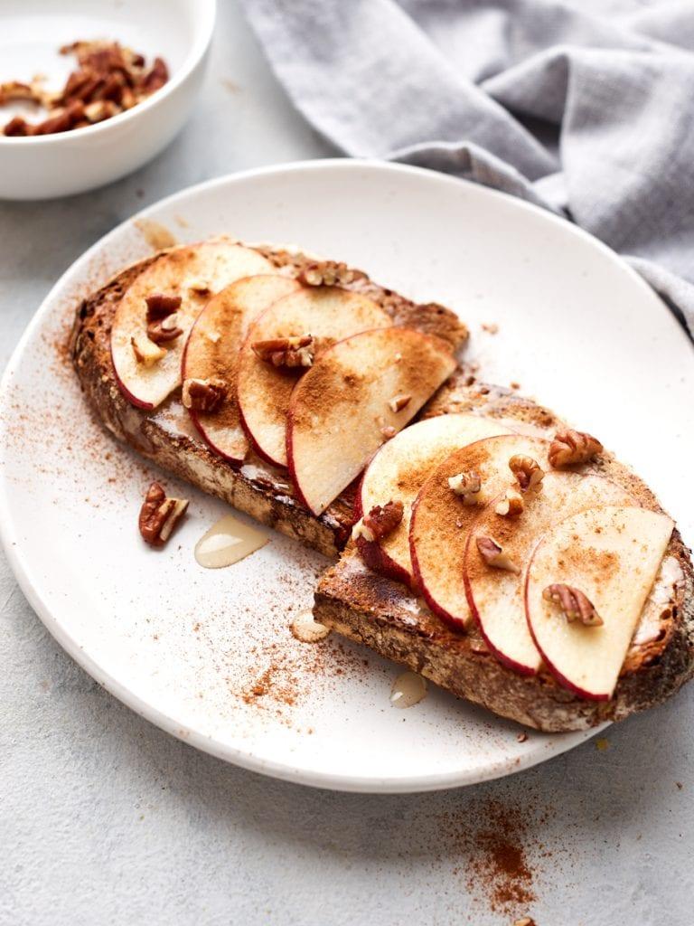 Apples and cinnamon on tahini toast