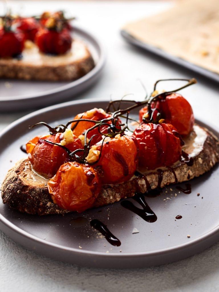 Tomatoes and tahini on toast