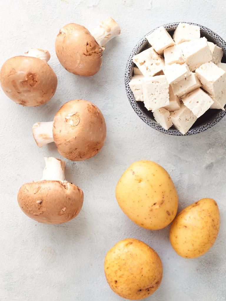 Ingredients for vegan pierogi filling