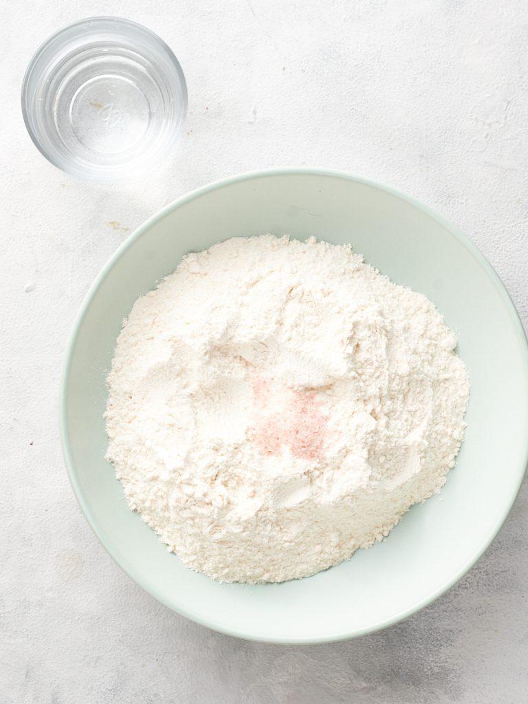 Ingredients for vegan pierogi dough