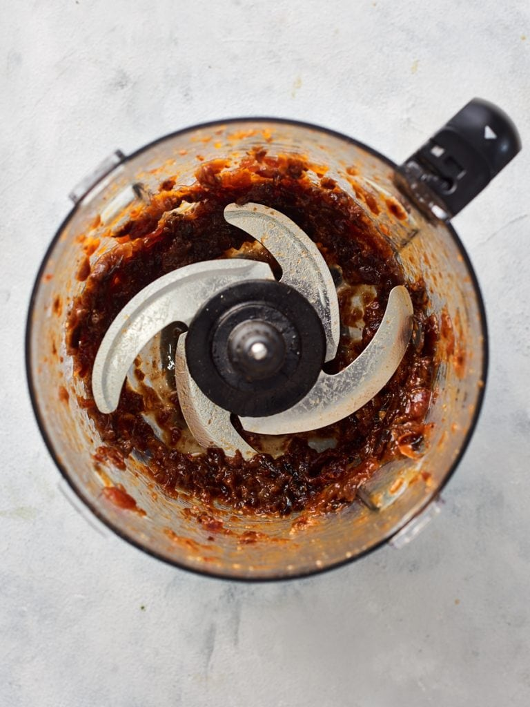 Blending dates and apricots in food processor 2