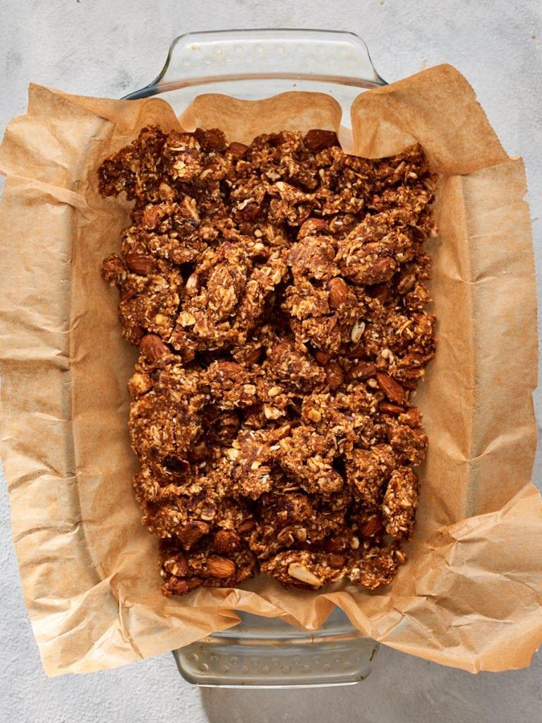Healthy muesli slice mixture in baking dish