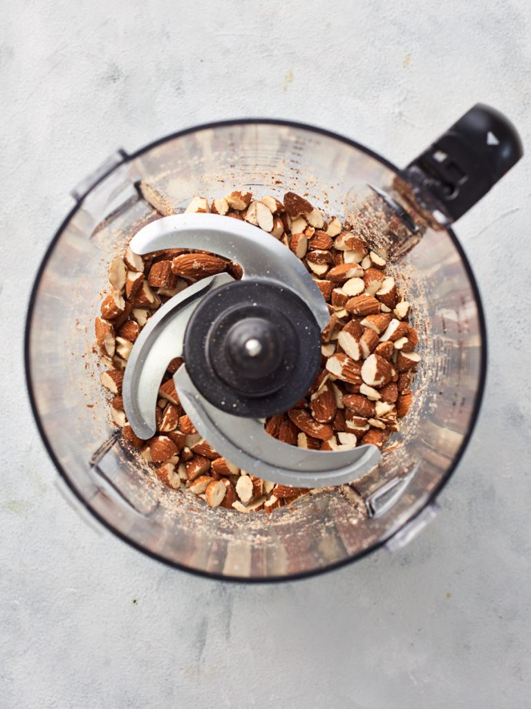 Chopping almonds in food processor