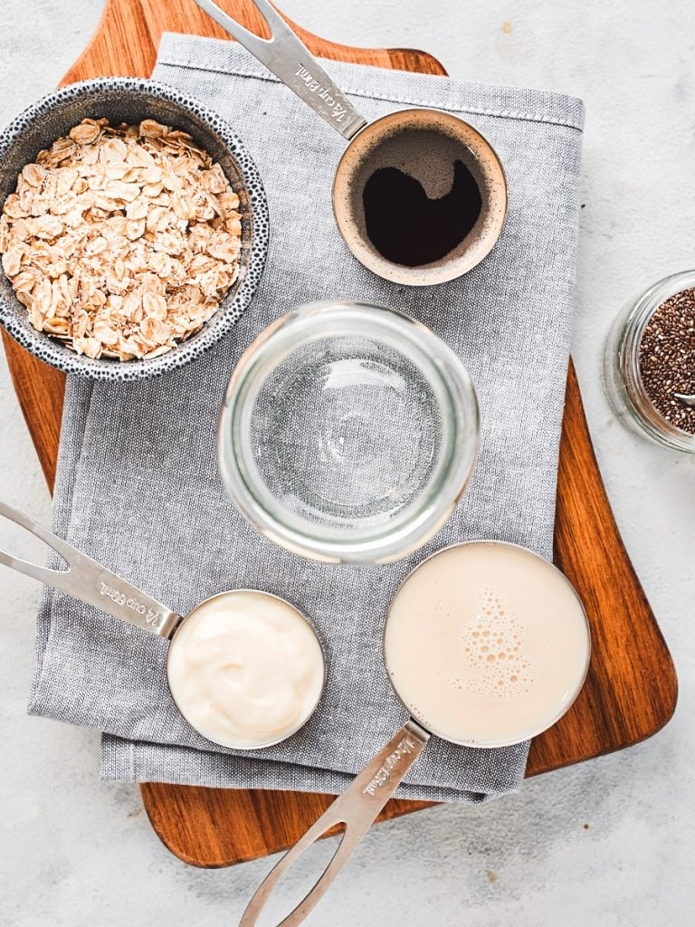 Ingredients for coffee overnight oats
