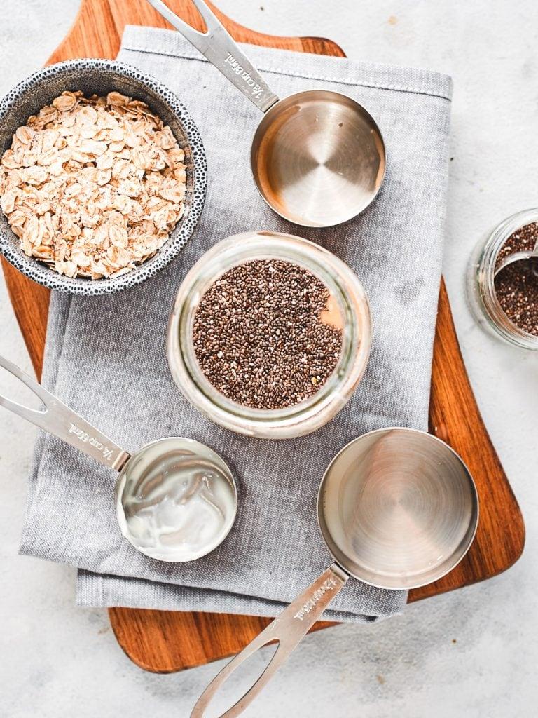 Adding chia seeds to mason jar