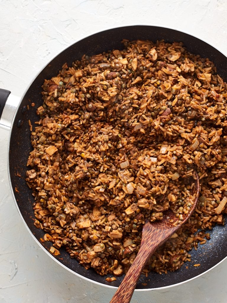 Cooked lebanese cabbage roll stuffing in a pan