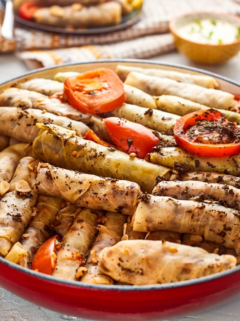 Pan filled with lebanese cabbage rolls
