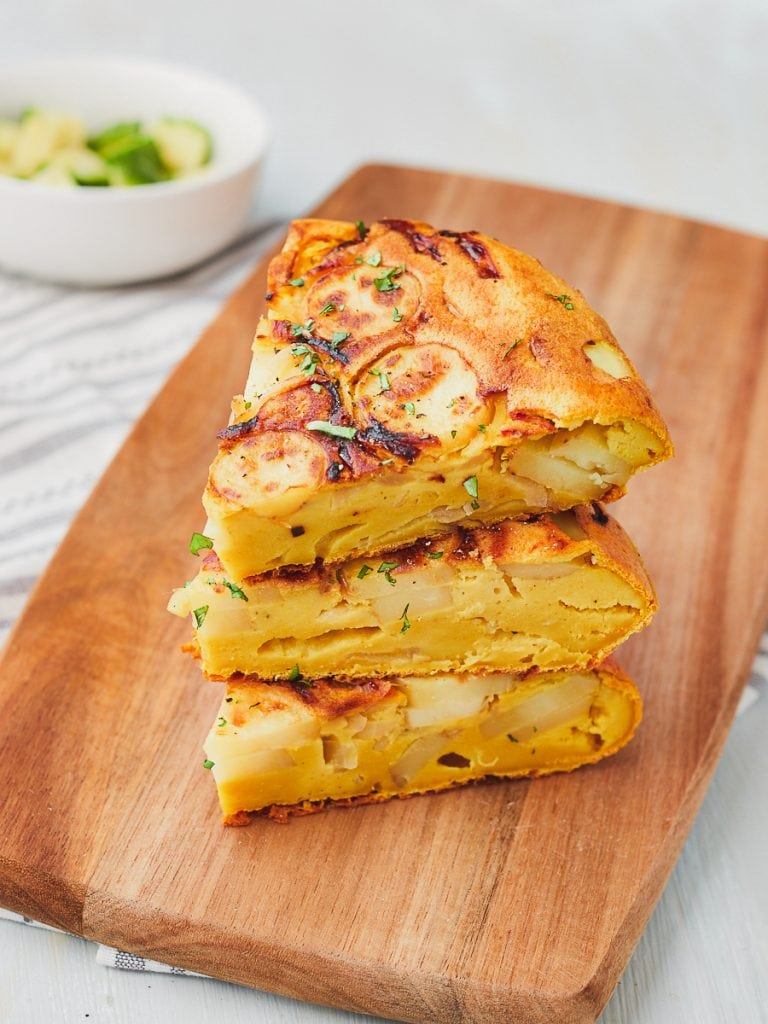 Stack of vegan spanish omelette slices