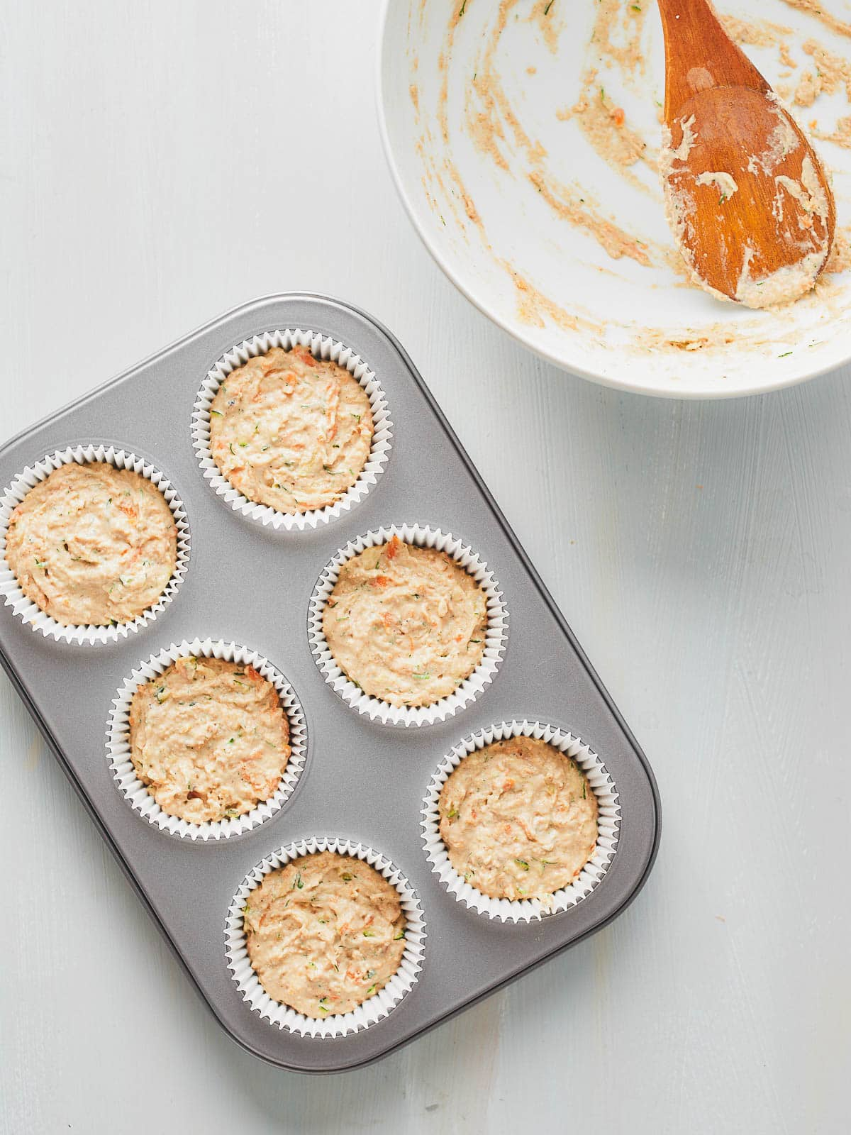 Photo of the filled muffin cases