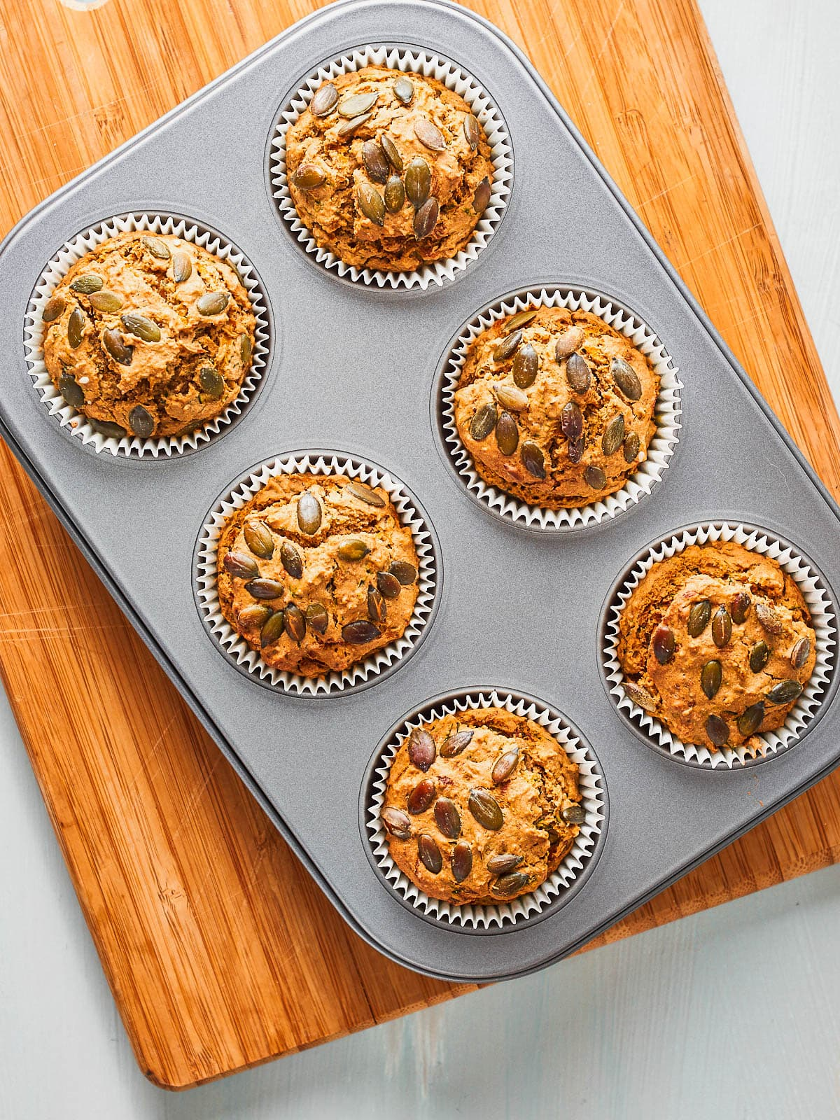 The baked muffins out of the oven
