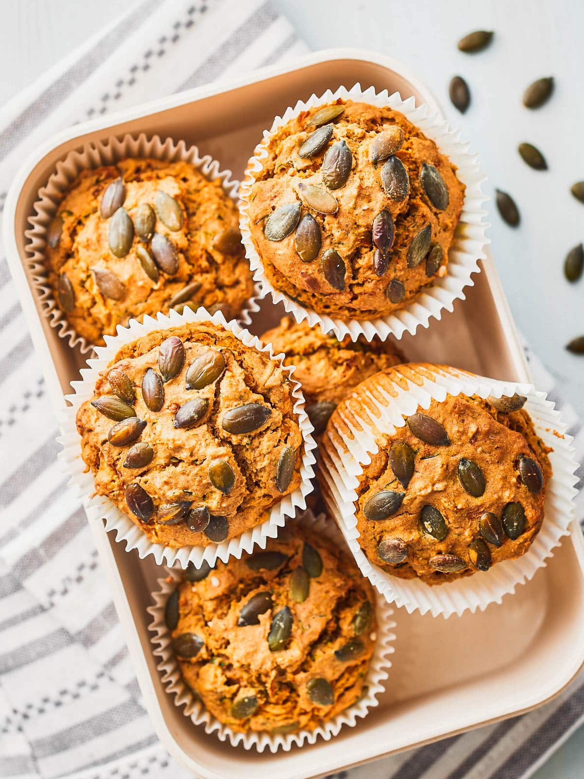 Overhead photo of muffins in a box