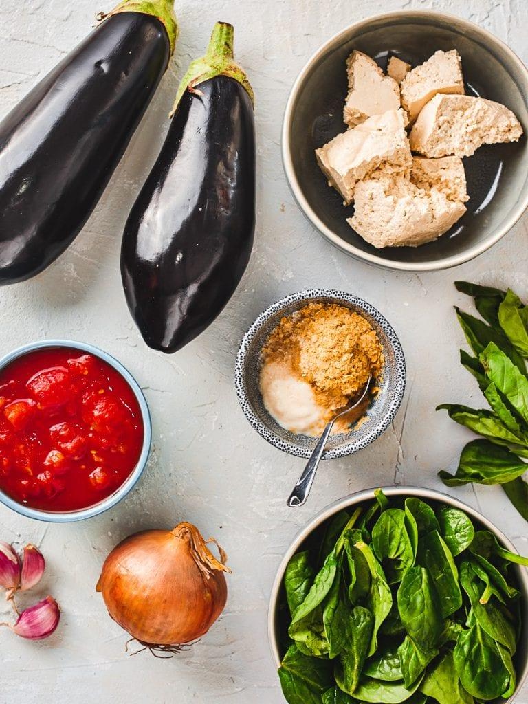 Eggplant cannelloni ingredients flatlay