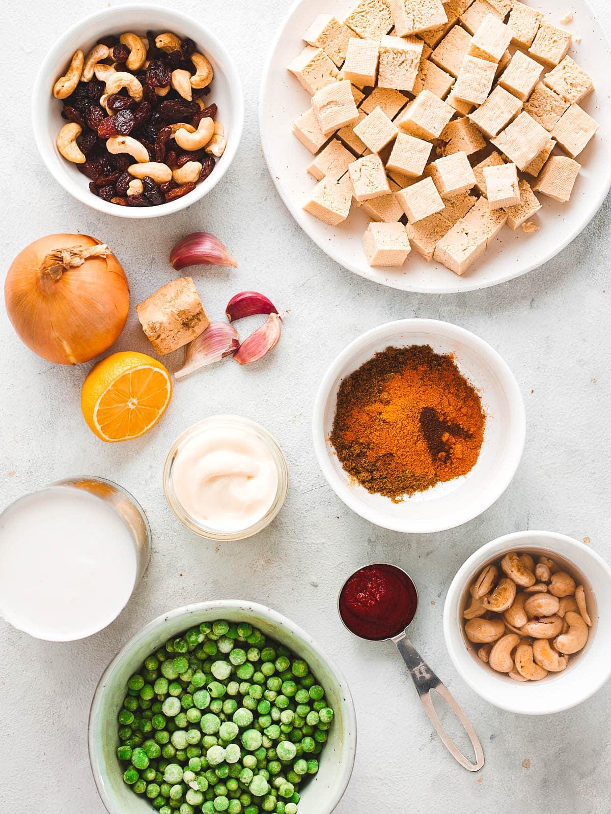 Ingredients for vegan shahi korma