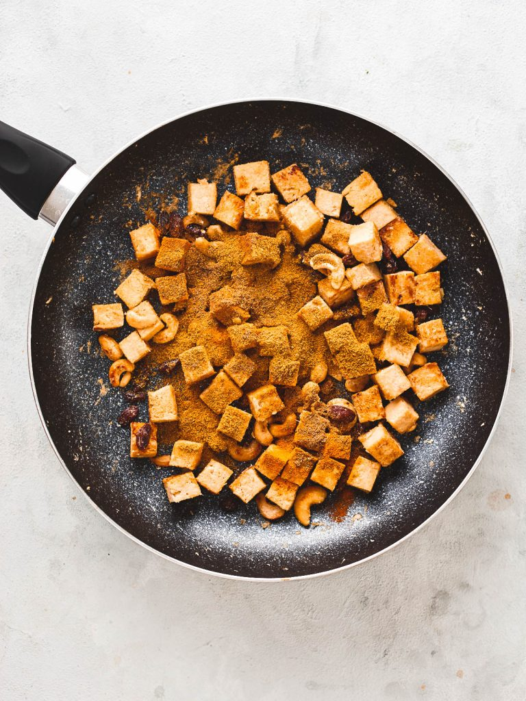 Spices add to the pan