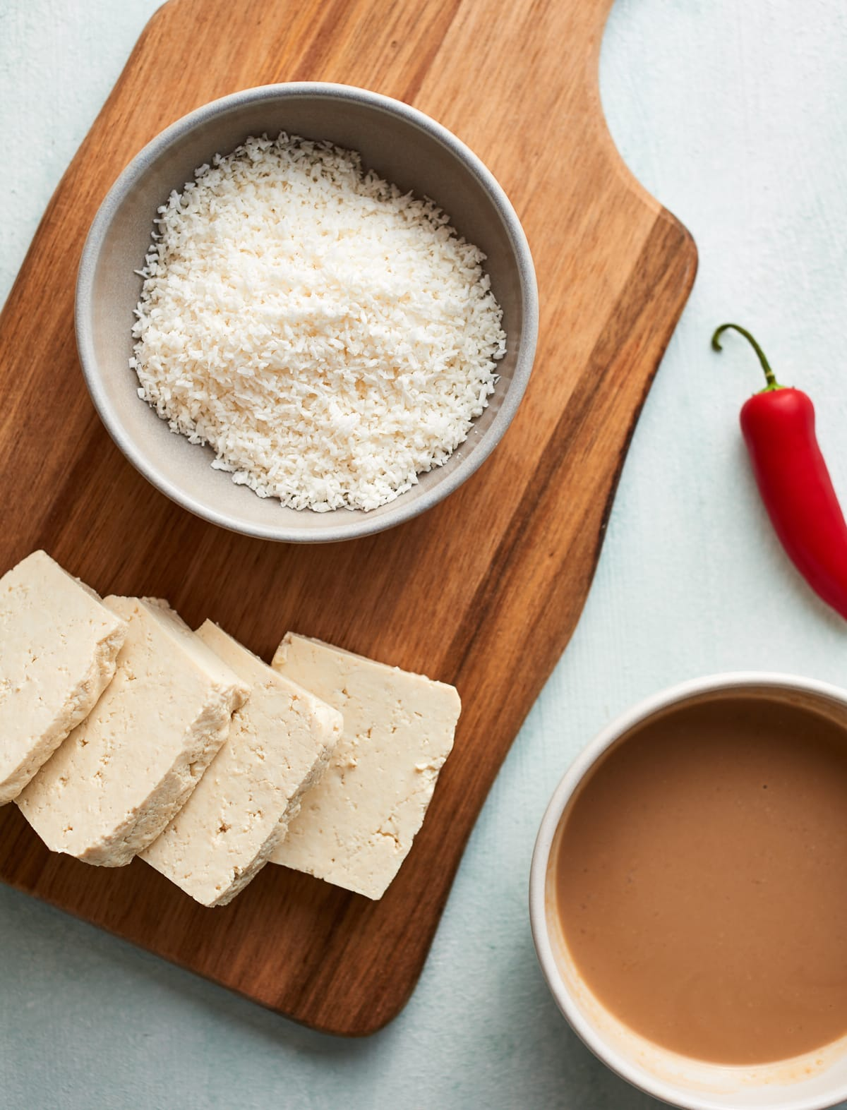 Ingredients for the coconut tofu