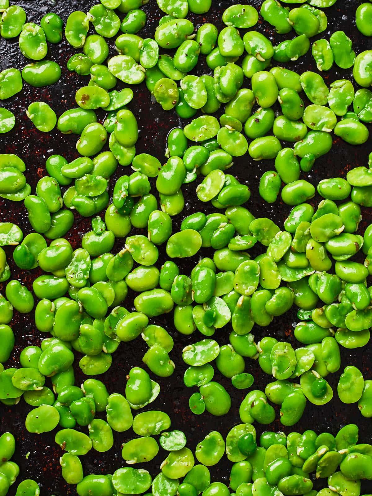 Broad beans after massage