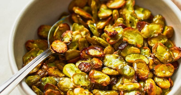 Bowl of crunchy roasted broad beans