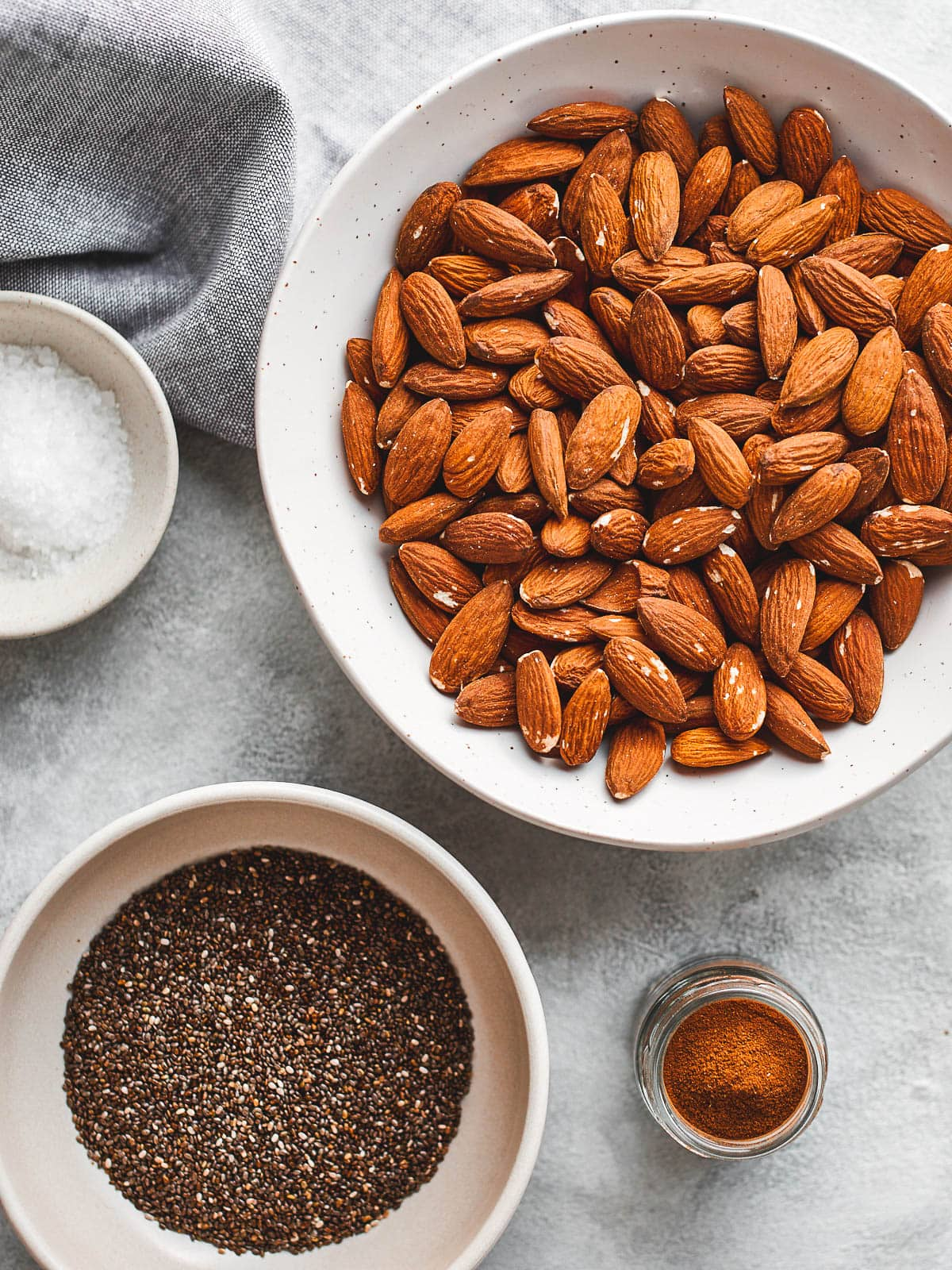 Ingredients for almond chia seed butter