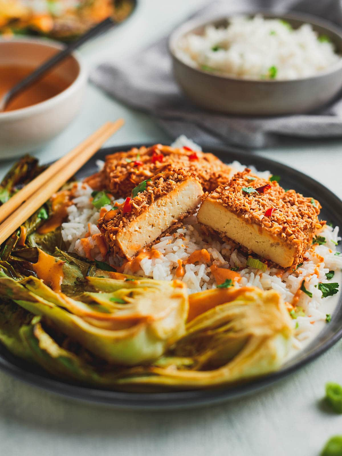 Photograph of coconut tofu on a bed of coconut rice with miso roasted pak choi