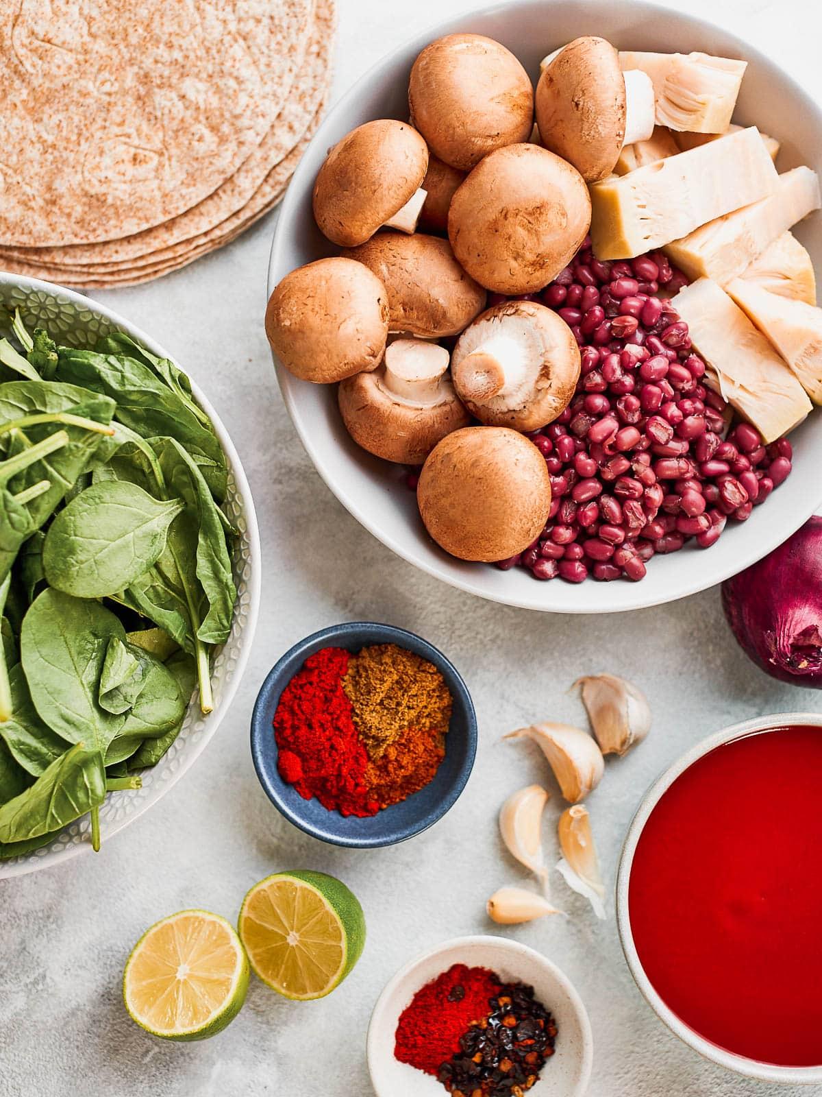 Ingredients for vegan jackfruit enchiladas