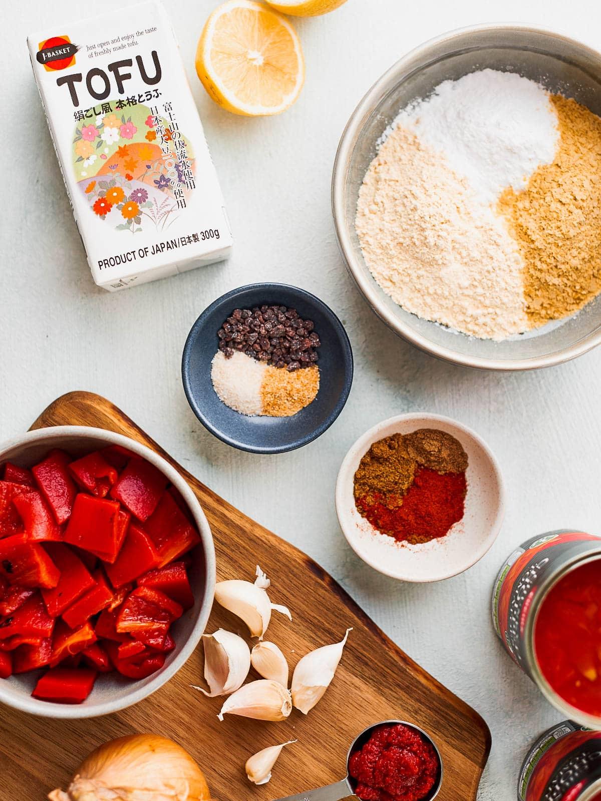 Ingredients flatlay for tofu shakshuka