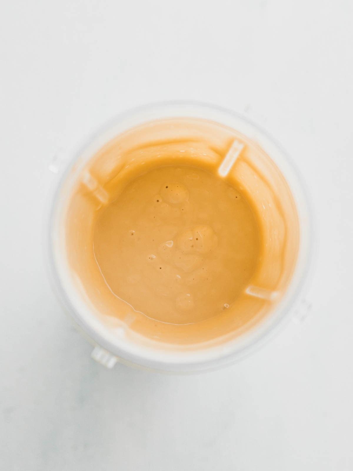 Blended vegan egg mixture in blender