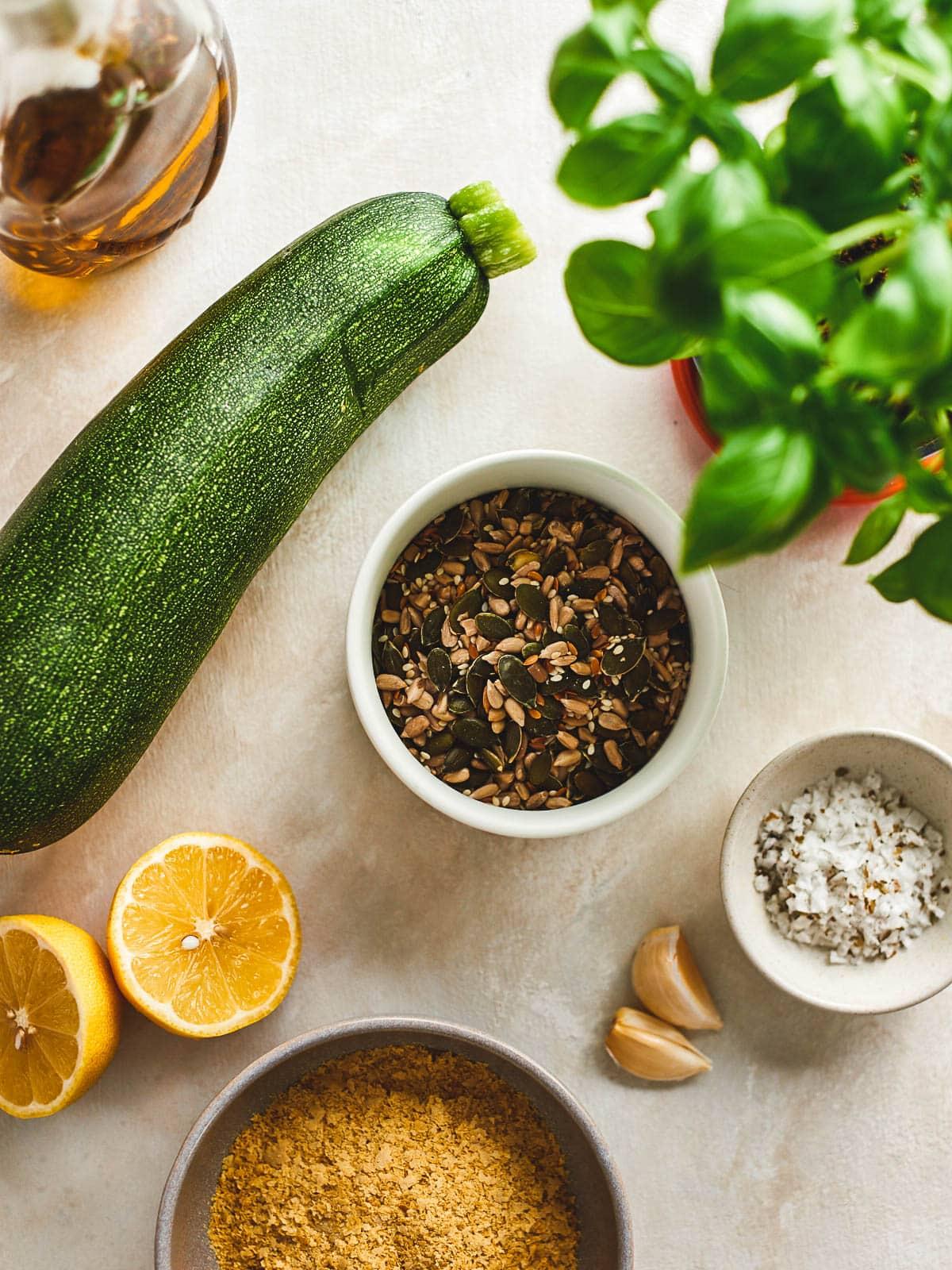 Ingredients for zucchini pesto