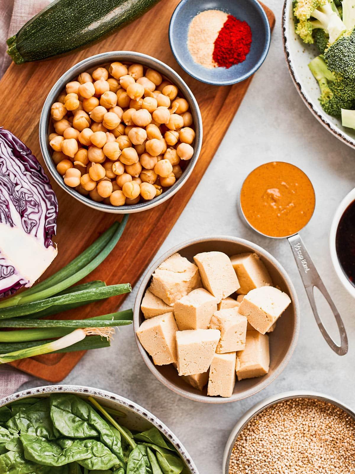Ingredients for tofu buddha bowls