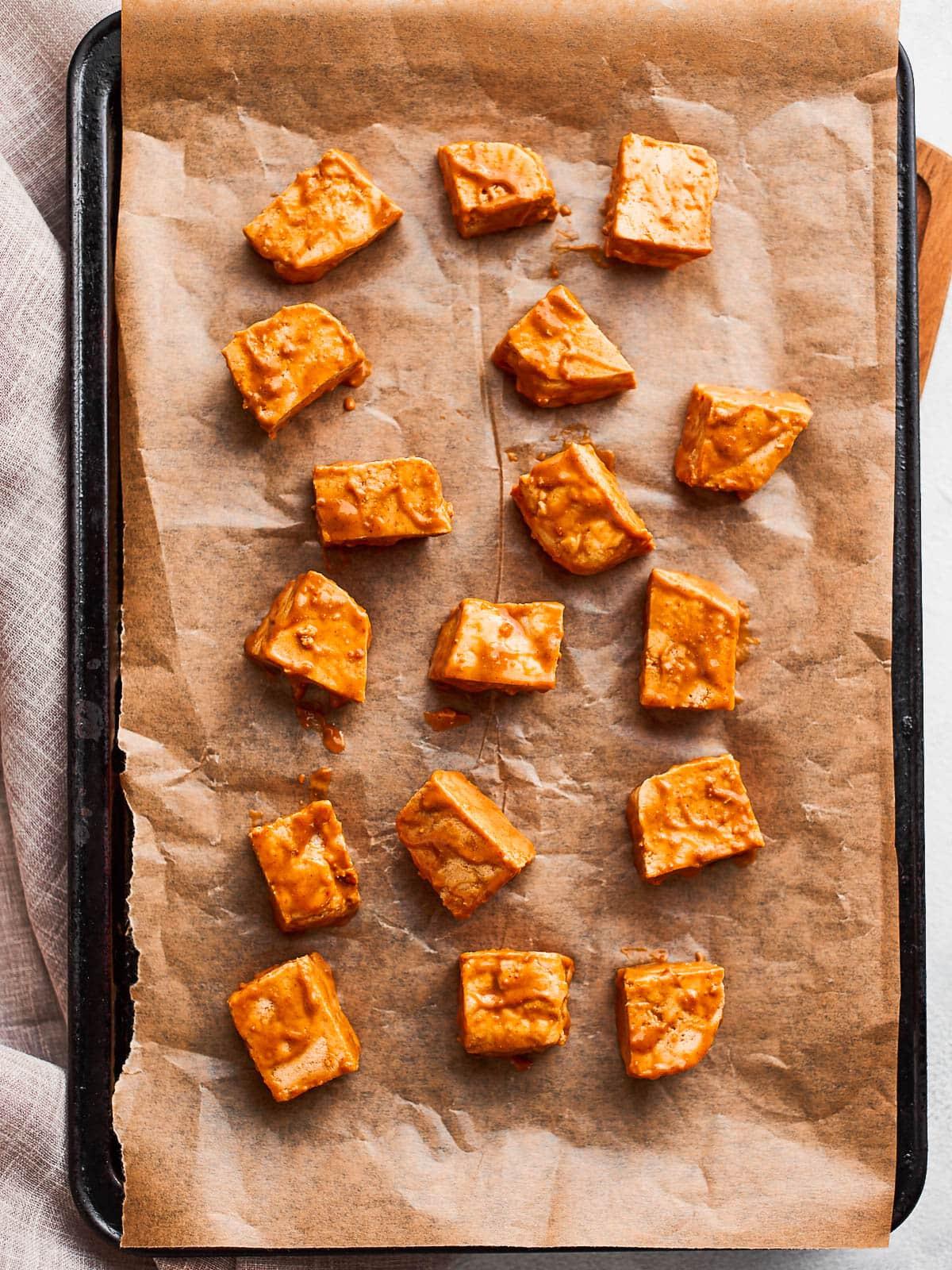 tofu on lined baking sheet
