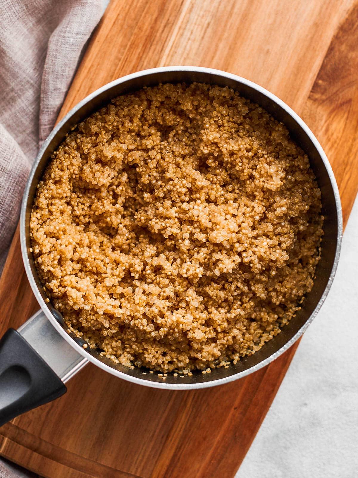 Cooked quinoa in a saucepan