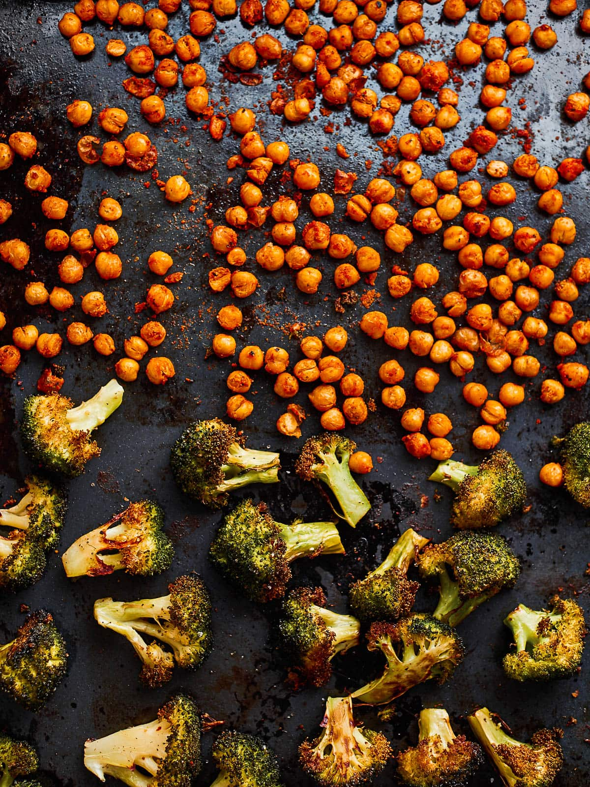 Roasted broccoli and chickpeas